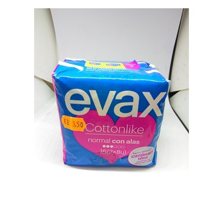 EVAX COTTONLIKE NORMAL CON ALAS PACK 2 PAQUETES 8X2- 16 U